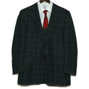 Canali Dark Blue Wool Sport Coat Windowpane Italy